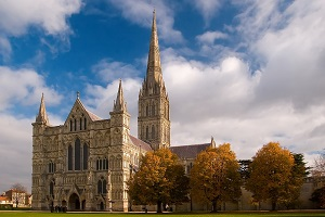 Salisbury cathedral in fall