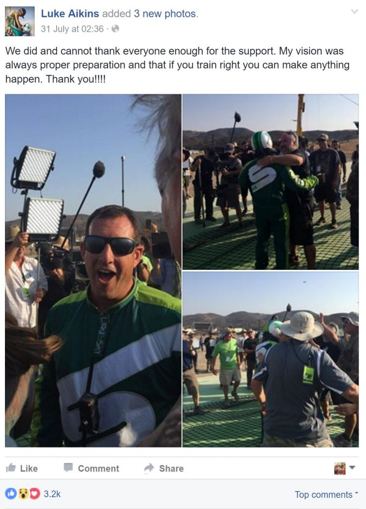 Luke Aikins took to his Facebook page to celebrate his record breaking skydive.